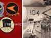 Εμβλήματα πέντε Αμερικανικών πολεμικών Αεροπορικών Μοιρών που είχαν ως έδρα το αεροπλανοφόρο ''J.F.KENNEDY'' όταν αυτό είχε ελλιμενιστεί το 1972 στο όρμο του Φαλήρου, και τα οποία εμβλήματα χορηγήθηκαν ως ''τιμής ένεκεν'' από Αμερικάνους συναδέλφους στον τότε Επισμηνία Παναγιώτη Παναγιωτίδη ο οποίος για τρεις ημέρες συνεργάζονταν μαζί τους, και ο οποίος στην φωτογραφία εικονίζεται 2ος από αριστερά με Αμερικάνους συναδέλφους και κατάλληλα ενδεδυμένος σύμφωνα με τις Αμερικάνικές απαιτήσεις πάνω στο αεροπλανοφόρο.
